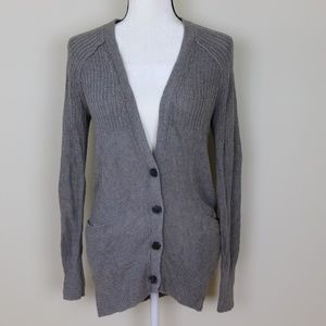 Gray Chunky Knit Boyfriend Cardigan Button Front